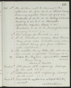 Extract from 1894 School Log – confirming Percy Croucher can return to school following an outbreak of diphtheria © Ancestry.co.uk