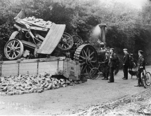 A traction engine accident on Coast Hill, Westcott 1905