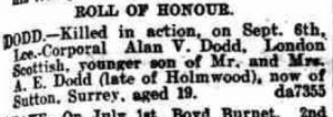 Alan Victor Dodd Death Notice © Dorking Advertiser