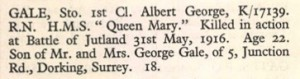 Albert George Gale Portsmouth Memorial Roll of Honour © CWGG.org