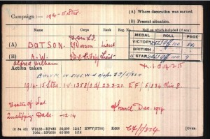 Alfred Batson Medal Roll Index Card © Ancestry.co.uk