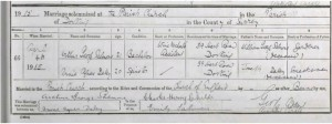 Arthur George Farmer Salmons - Annie Alfred Daley Marriage Certificate © Ancestry.co.uk