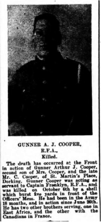 Arthur James Cooper Death Notice © Dorking Advertiser