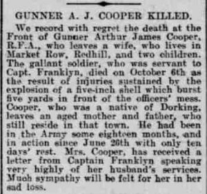 Arthur James Cooper Death Notice © Surrey Adveetiser British Newspaper Archives