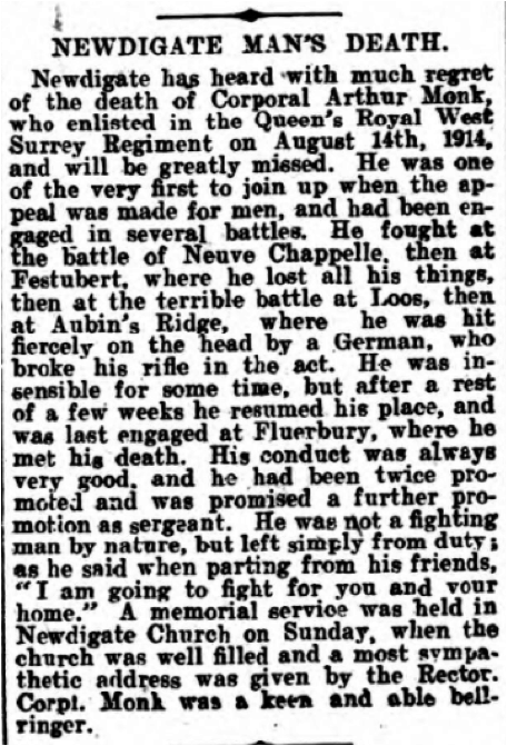 Arthur Monk Death Notice 21st October 1916 © Dorking Advertiser