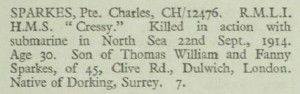 Charles Sparkes Chatham Memorial Roll of Honour © CWGC.org