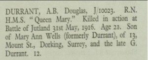 Douglas Durrant Roll of Honour © CWGC.org