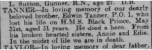Edwin Tanner Death Notice © Portsmouth Evening News findmypast.co.uk