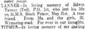 Edwin Tanner Family Death Notice © Portsmouth Evening News findmypast.co.uk