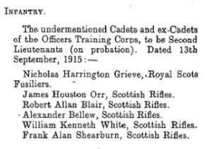 Frank Alan Shearburn Army Promotion Notice © The London Gazette findmypast.co.uk