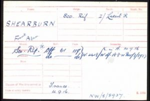 Frank Alan Shearburn British War Medal and Victory Medal Index Card © ancestry.co.uk