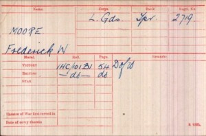 Frederick Walter Moore Medal Rolls Index Card © ancestry.co.uk