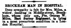 George Miles Injury Notice 2nd September 1916 © Dorking Advertiser