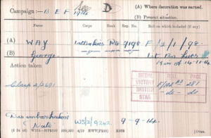 George Way Medal Card © Ancestry.com