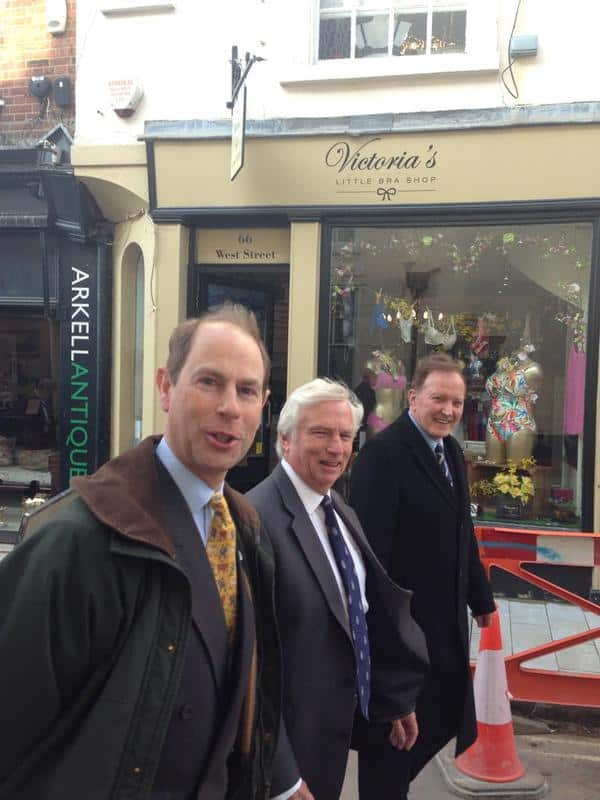 HRH Prince Edward on his way to the official opening of the Cave Tours February 2015, accompanied by Chris Heaps from DDPS and Sir Adrian White.