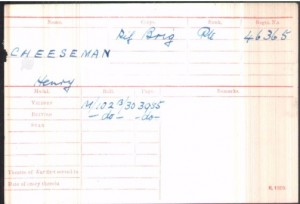 Henry Cheesman Medal Roll Index Card © Ancestry.co.uk