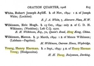 Henry Harman Young Charterhouse Register © Ancestry.co.uk