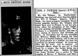 Job Tickner Wounded Notice © Dorking Advertiser findmypast.co.uk