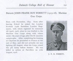 John Frank Roy Porritt Dulwich College Roll of Honour © Dulwich College