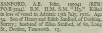 John Sanford Portsmouth Naval Memorial Roll of Honour © CWGC.org.uk