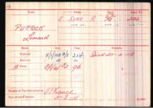 Leonard Puttock Army Medal Roll © ancestry.co.uk