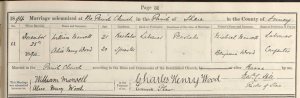William Mansell Wedding Certificate
