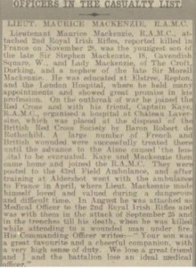Maurice Mackenzie Casualty List Reading Mercury © findmypast.co.uk