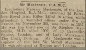 Maurice Mackenzie Death Notice Dundee Advertiser © Ancestry.co.uk