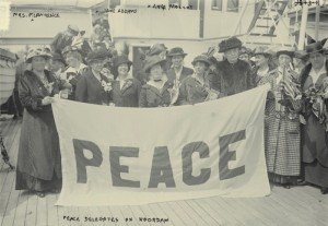 Mrs Pethick-Lawrence on her way to the International Women's Peace Conference 1915