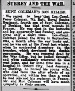 Percy Coleman Death Notice Dorking Advertiser © Ancestry.co.uk