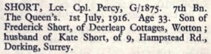 Percy Short Thiepval Memorial Roll of Honour © CWGC.org.jpg