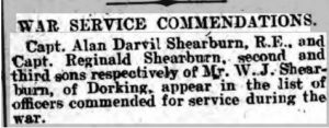 Reginald Shearburn War Service Commendations © Dorking Advertiser findmypast.co.uk