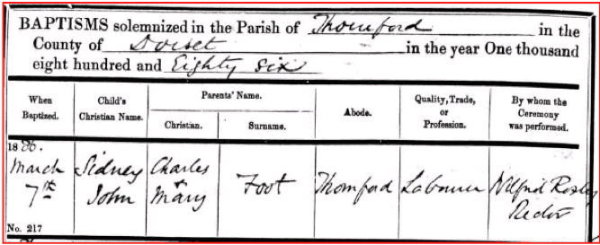 Sidney Foot 1886 Baptism Certificate © Ancestry.co.uk
