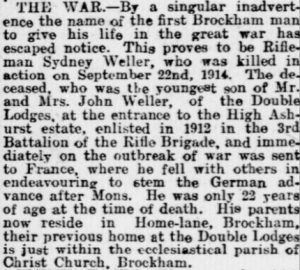 Sydney Weller Death Notice 21st February 1919 Surrey Advertiser © Local World Limited:Trinity Mirror. Image created courtesy of THE BRITISH LIBRARY BOARD.