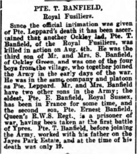 Thomas Banfield Death Notice 14th August 1916 © Dorking Advertiser