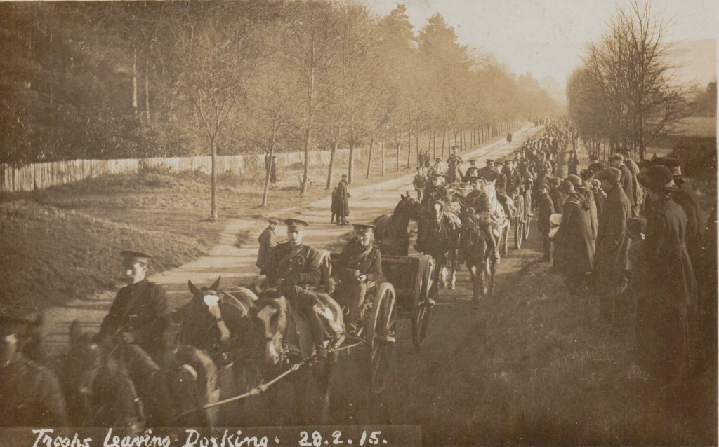 Troops leaving Dorking 28 Feb 1915