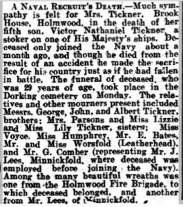 Victor Nathaniel Tickner Death Notice © Dorking Advertiser findmypast.co.uk