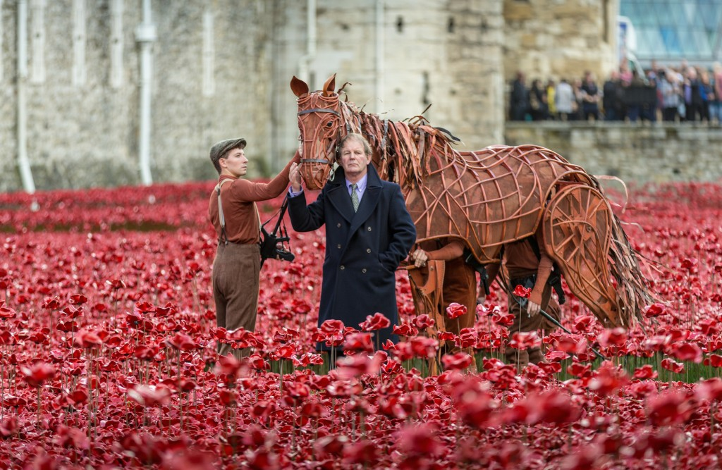 War Horse and Michael Morpurgo at the Tower of London. 19th October 2014