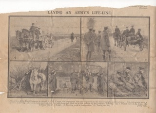 William Burgess Newspaper cutting RE training laying telegraph lines WW1 © Jane Stevens