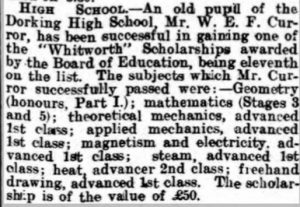 William Curror Scholarship Report © Dorking Advertiser findmypast.co.uk