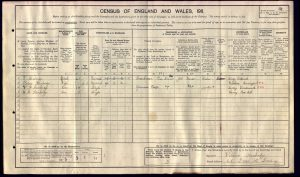 William Frederick Stanbridge 1911 Census © ancestry.co.uk
