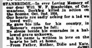 William Frederick Stanbridge Family Tribute © Dorking Advertiser findmypast.co.uk