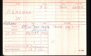 William Heasman Medal Rolls Index Card © Ancestry.co.uk