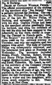 William Philps Death Notice © Findmypast.co.uk