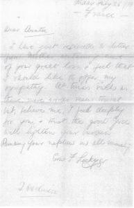 Letter of Condolence - E. F Lockyer