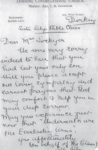 Condolence Letter Sister Lily