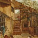 John Beckett, Courtyard With Cat and Robin, South Street, Dorking