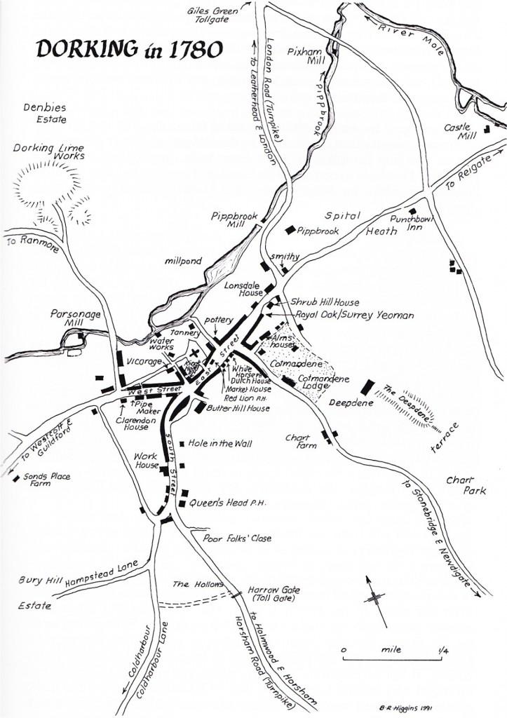 Dorking Map of 1780