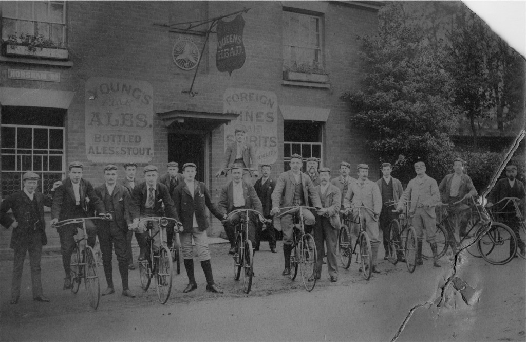 Cyclists outside the Queen's Head