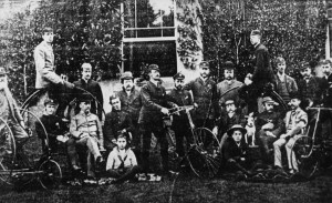 Cyclists outside a Rose Hill house